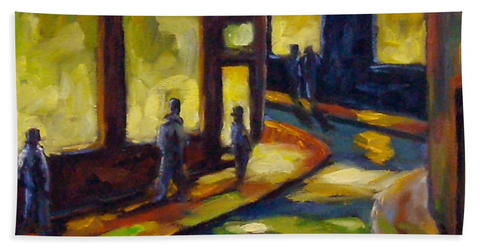 Urban; Scene; People; Night; Street; City; Scape; Love; Bath Sheet featuring the painting Old Town At Night by Richard T Pranke