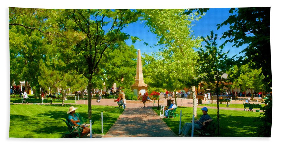 Santa Fe New Mexico Bath Sheet featuring the painting Old Town Square Santa Fe by David Lee Thompson