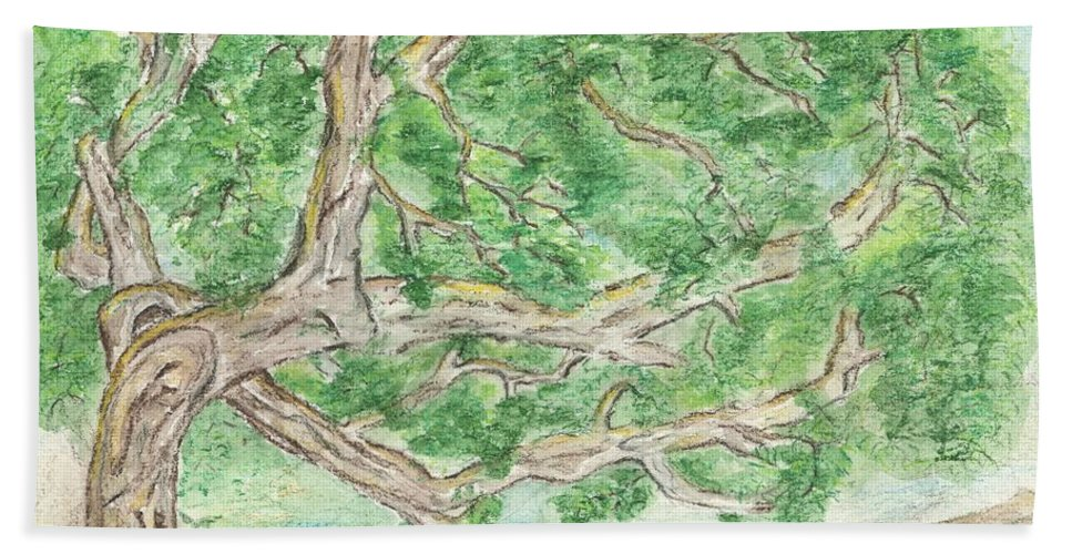 Tree Bath Sheet featuring the painting Old Tree by Sara Stevenson