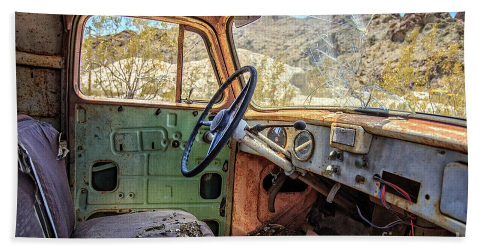 Truck Hand Towel featuring the photograph Old Truck Interior Nevada Desert by Edward Fielding