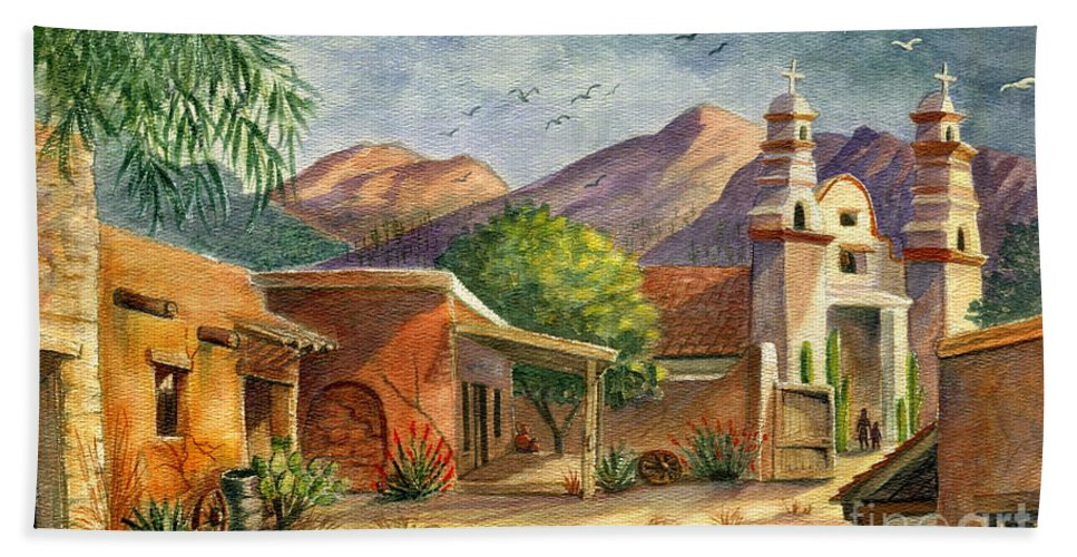 Old Tucson Bath Towel featuring the painting Old Tucson by Marilyn Smith