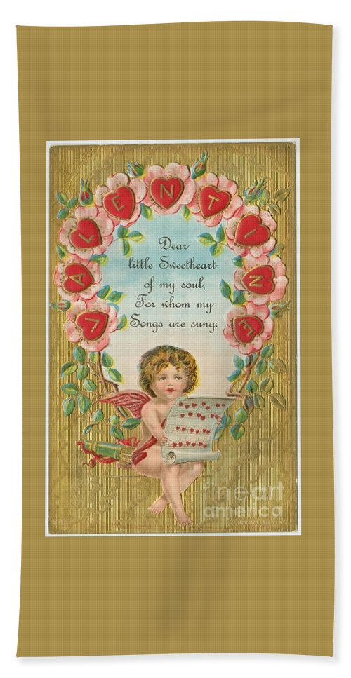 Old Valentine Design Four Hand Towel featuring the painting Old Valentine Design Four by Pd