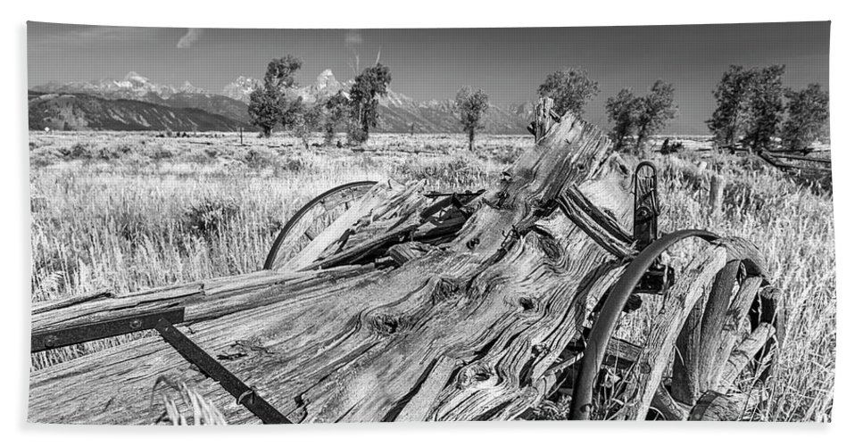 Old Rotting Wagon Hand Towel featuring the photograph Old Wagon, Jackson Hole by Daryl L Hunter