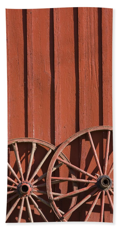 Wheel Wheels Wagon Old Red Barn Antique Past History Rural Country Bath Towel featuring the photograph Old Wagon Wheels IIi by Andrei Shliakhau