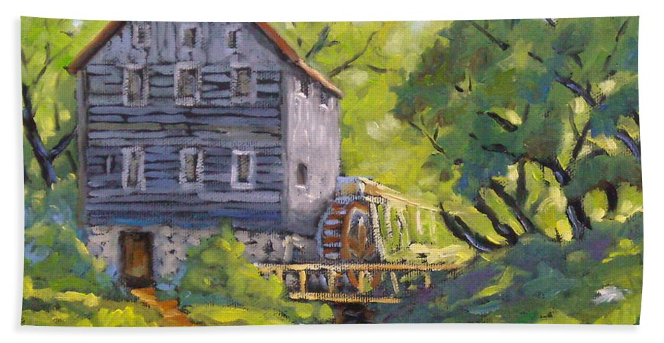 Art Bath Sheet featuring the painting Old Watermill by Richard T Pranke