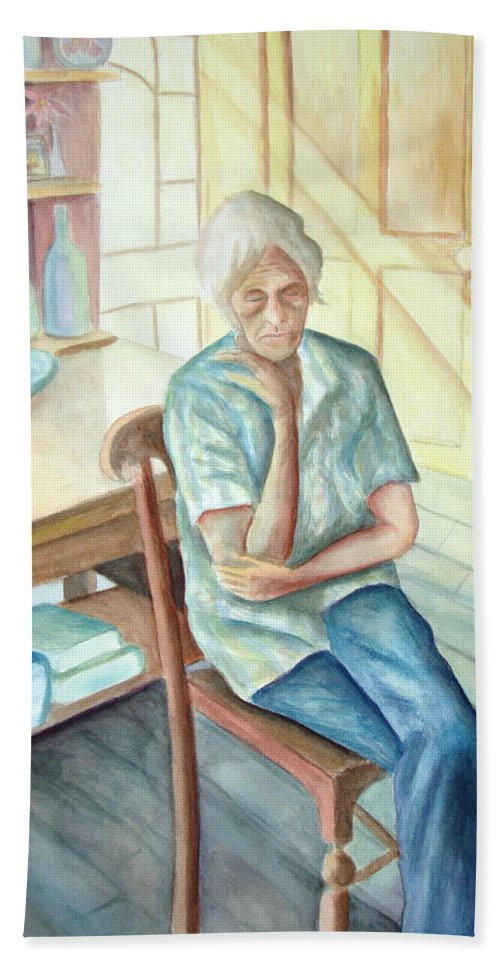Woman Bath Towel featuring the painting Old Woman by Nancy Mueller
