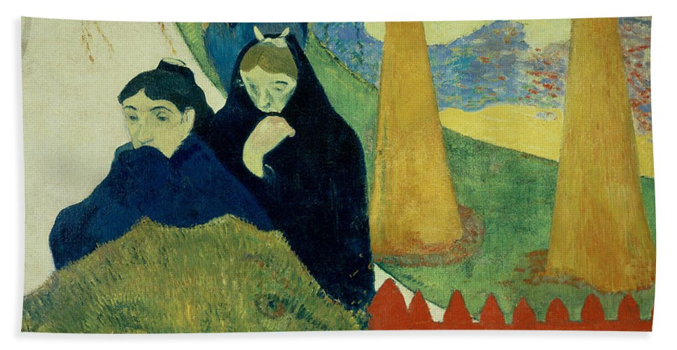 Old Women Of Arles Hand Towel featuring the painting Old Women Of Arles by Paul Gauguin