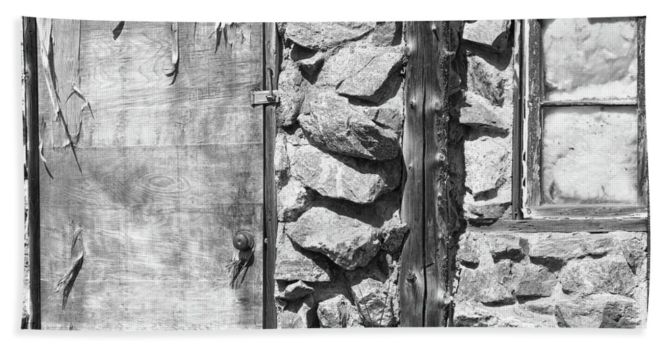 Peeling Bath Sheet featuring the photograph Old Wood Door Window And Stone In Black And White by James BO Insogna