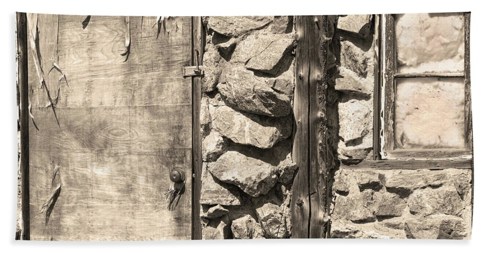 Sepia Bath Sheet featuring the photograph Old Wood Door Window And Stone In Sepia Black And White by James BO Insogna