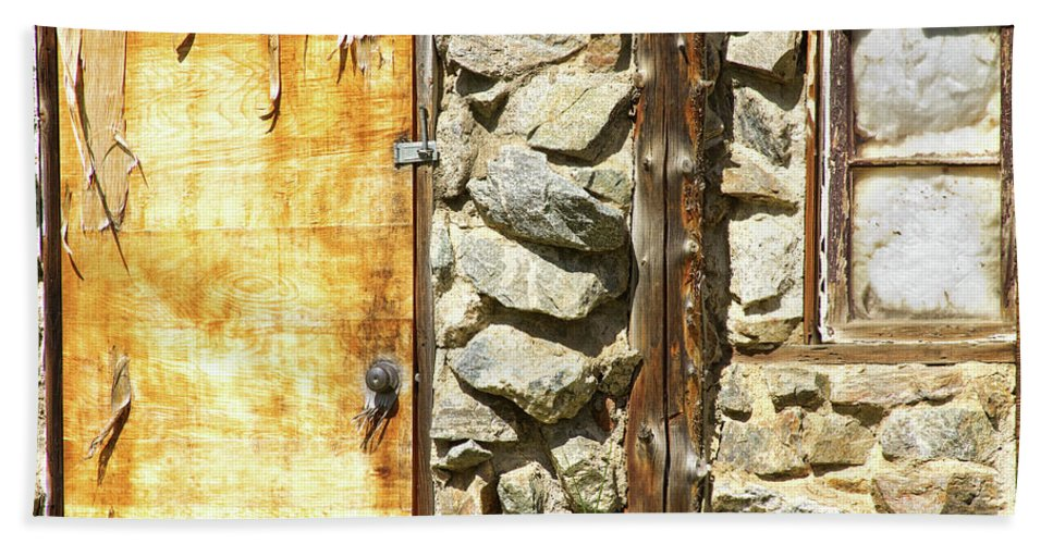 Peeling Bath Sheet featuring the photograph Old Wood Door Window And Stone by James BO Insogna