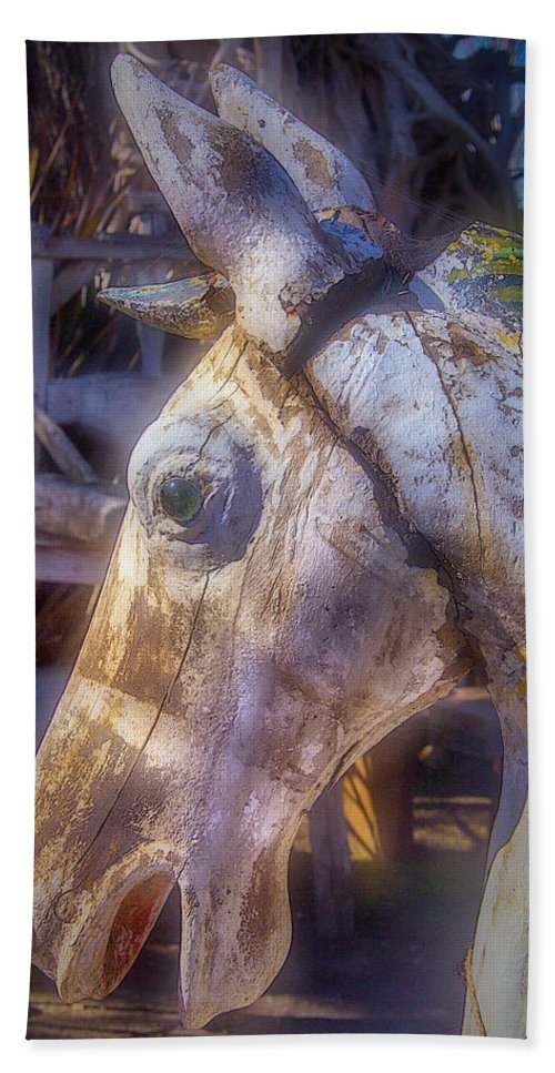 Old Bath Sheet featuring the photograph Old Wooden Horse Head by Garry Gay
