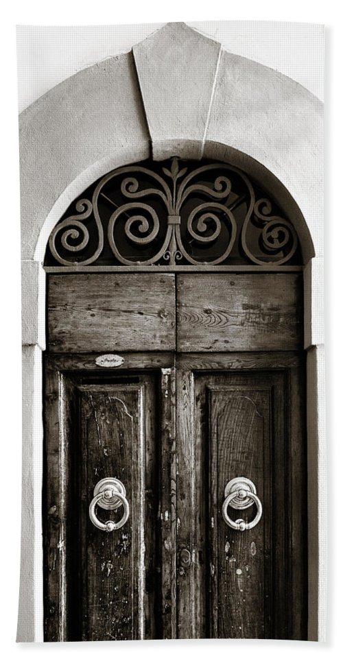 Door Hand Towel featuring the photograph Old World Door by Marilyn Hunt