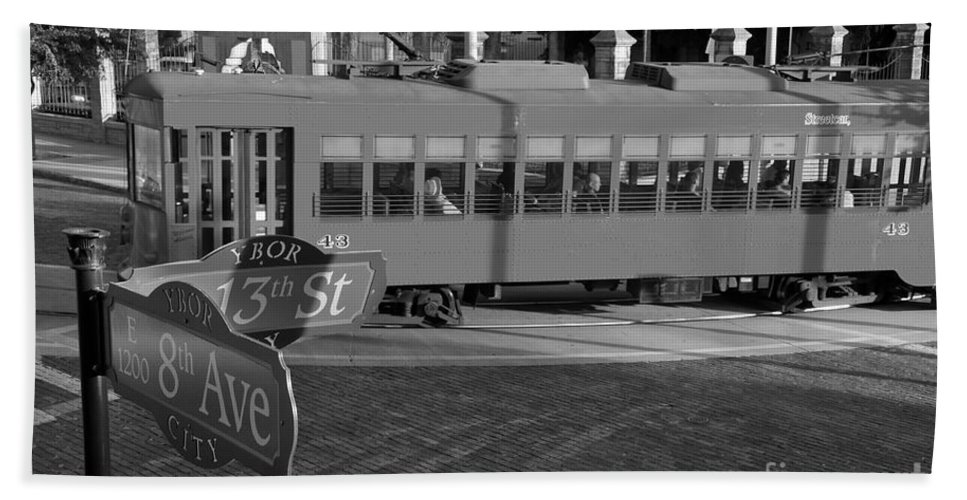 Ybor City Florida Bath Towel featuring the photograph Old Ybor City Trolley by David Lee Thompson