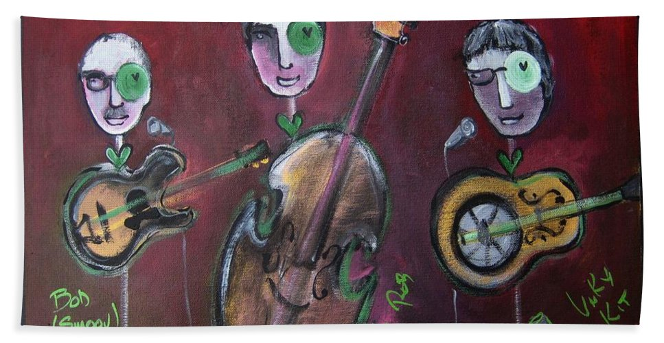 Live Painting Hand Towel featuring the painting Olde Town Swing Band by Laurie Maves ART