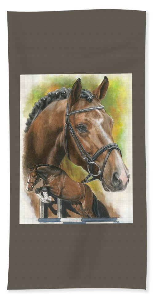 Horse Bath Towel featuring the mixed media Oldenberg by Barbara Keith