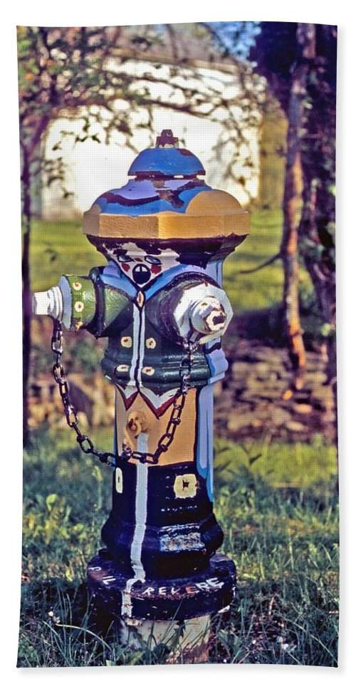 Fireplug Hand Towel featuring the photograph Oldenburg Fireplug by Gary Wonning
