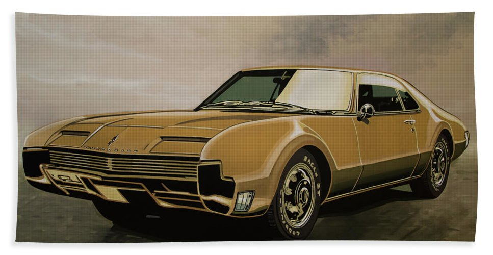 Oldsmobile Toronado Bath Towel featuring the painting Oldsmobile Toronado 1965 Painting by Paul Meijering