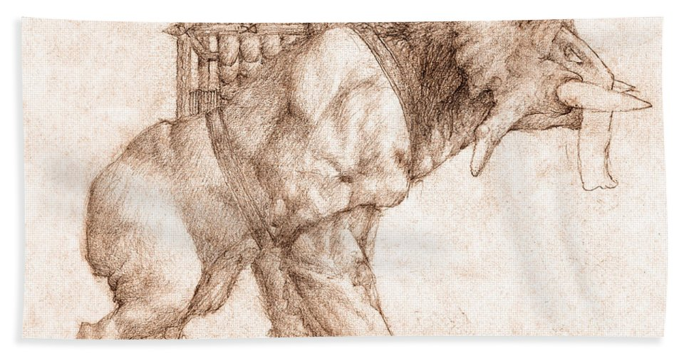 Lord Of The Rings Bath Sheet featuring the drawing Oliphaunt by Curtiss Shaffer