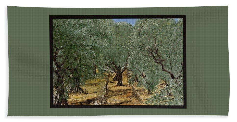 Landscape Bath Towel featuring the painting Olive by Pablo de Choros