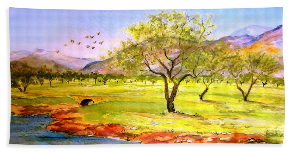 Landscape Painting Bath Sheet featuring the painting Olive Grove by Valerie Anne Kelly