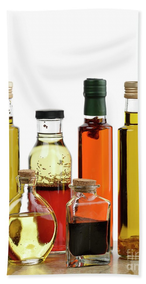 Cooking Oil Hand Towel featuring the photograph Olive Oil,salad Dressing And Vinegar by Svetlana Foote