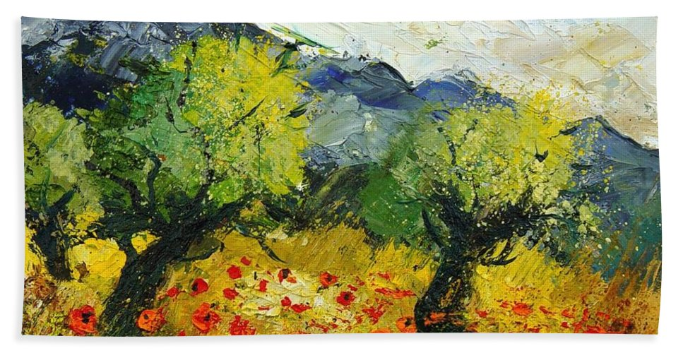 Flowers Hand Towel featuring the painting Olive Trees And Poppies by Pol Ledent
