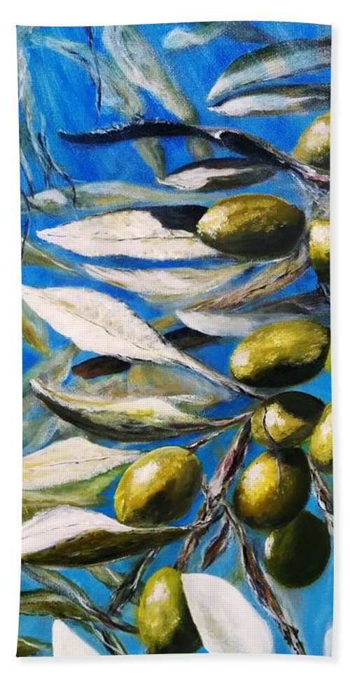 Hand Towel featuring the painting Olives Extract by Anthony Camilleri
