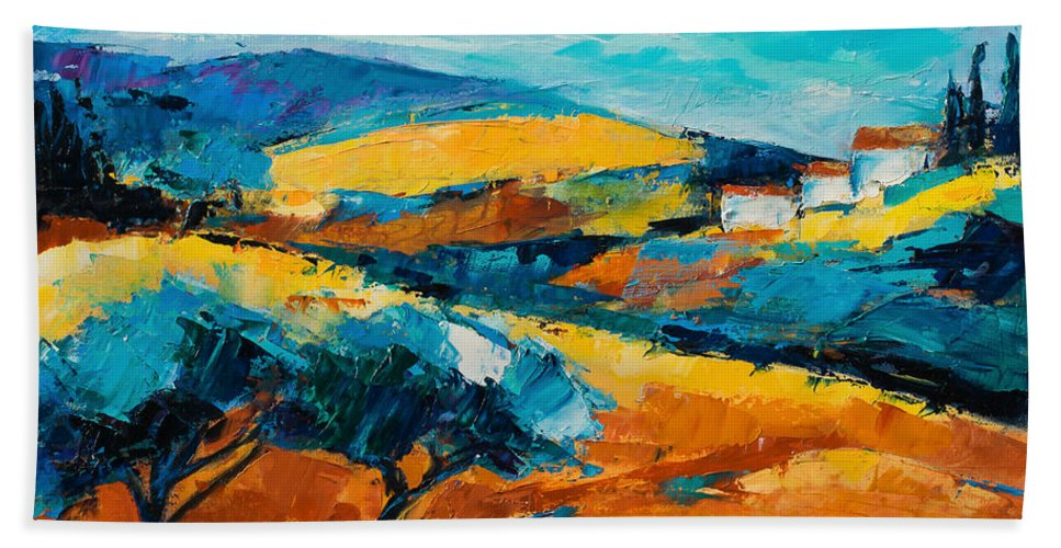 Landscape Hand Towel featuring the painting Oliviers En Provence by Elise Palmigiani