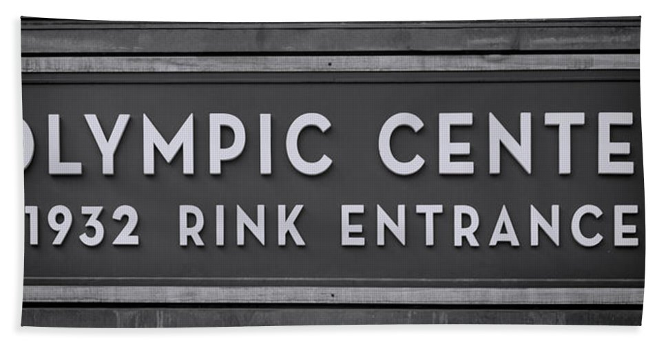 Lake Placid Hand Towel featuring the photograph Olympic Center 1932 Rink Entrance - Monochrome by Stephen Stookey