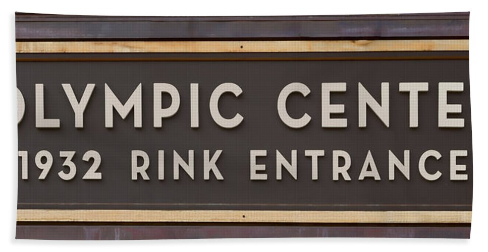 Lake Placid Hand Towel featuring the photograph Olympic Center 1932 Rink Entrance by Stephen Stookey