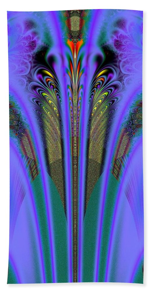 Olympic Torch And Fireworks Fractal Hand Towel featuring the digital art Olympic Torch And Fireworks Fractal 162 by Rose Santuci-Sofranko