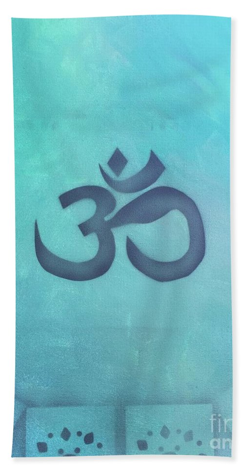 Buddhism Hand Towel featuring the painting OM by Buffy Heslin