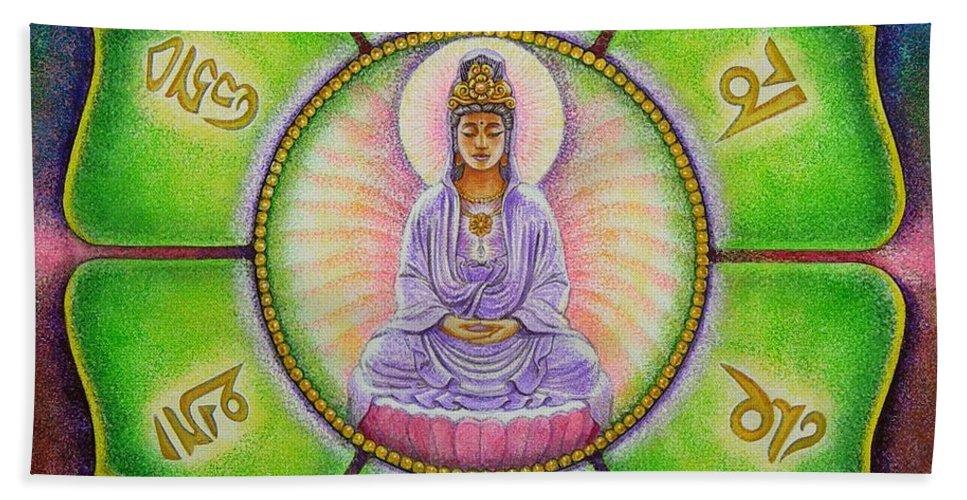Kuan Yin Hand Towel featuring the painting Om Mani Padme Hum Kuan Yin by Sue Halstenberg