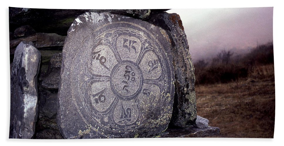 Langtang Hand Towel featuring the photograph Om Mani Padme Hum by Patrick Klauss