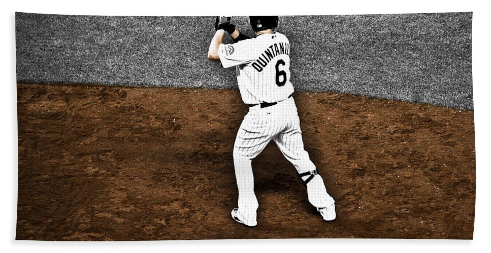 Baseball Bath Towel featuring the photograph Omar Quintanilla Pro Baseball Player by Marilyn Hunt