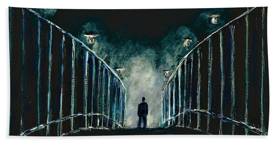 #omegaman #iamlegend #charltonheston #scifi #horror #surreal #surrealism #richardmatheson #thriller #2d #artistsoninstagram #artoftheday #collectart #contemporaryart #dark #expressionism #filmnoir #fineart #followart #instart #instalike #mood #newartwork #originalpainting #surreal #surrealism Bath Sheet featuring the painting Omega Man by Allison Constantino