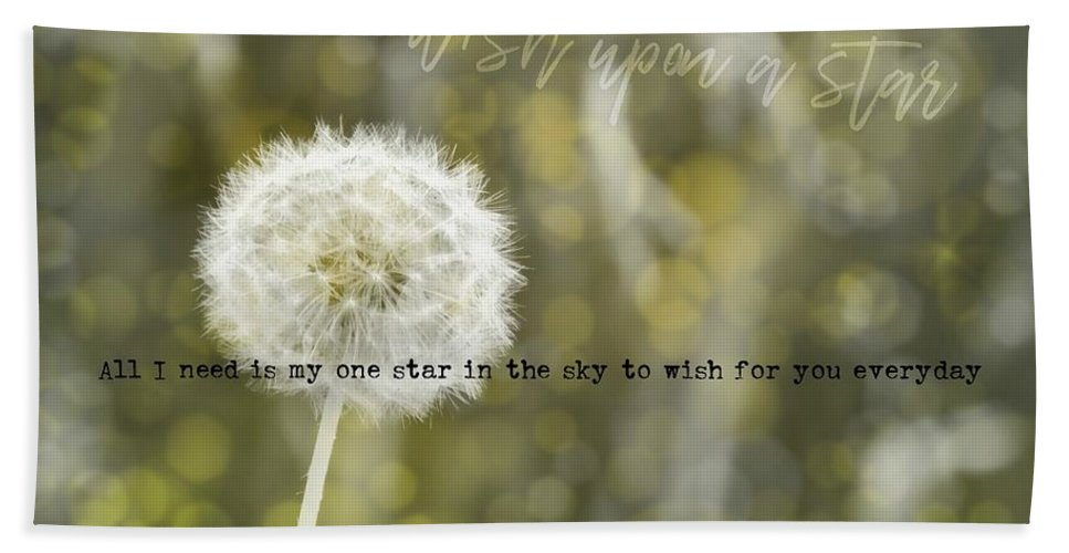 Dandelion Bath Sheet featuring the photograph On A Breeze Quote by JAMART Photography