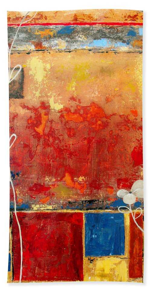 Abstract Bath Sheet featuring the painting On A Clear Day by Ruth Palmer