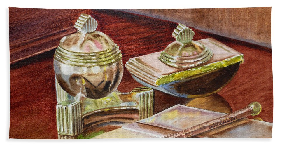 Tao Bath Towel featuring the painting On A Desk At Eugene O Neill Tao House by Irina Sztukowski
