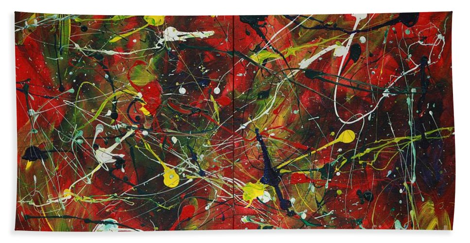 Splatter Bath Sheet featuring the painting On A High Note by Jacqueline Athmann