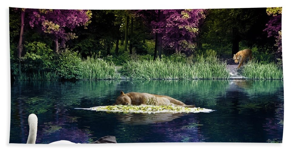 Abstract Bath Sheet featuring the digital art On A Lake by Svetlana Sewell