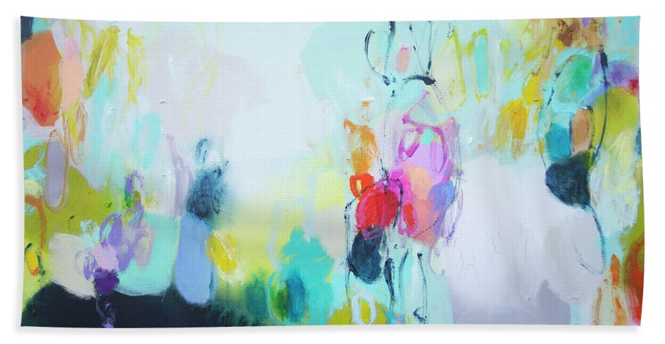 Abstract Hand Towel featuring the painting On A Road Less Travelled by Claire Desjardins
