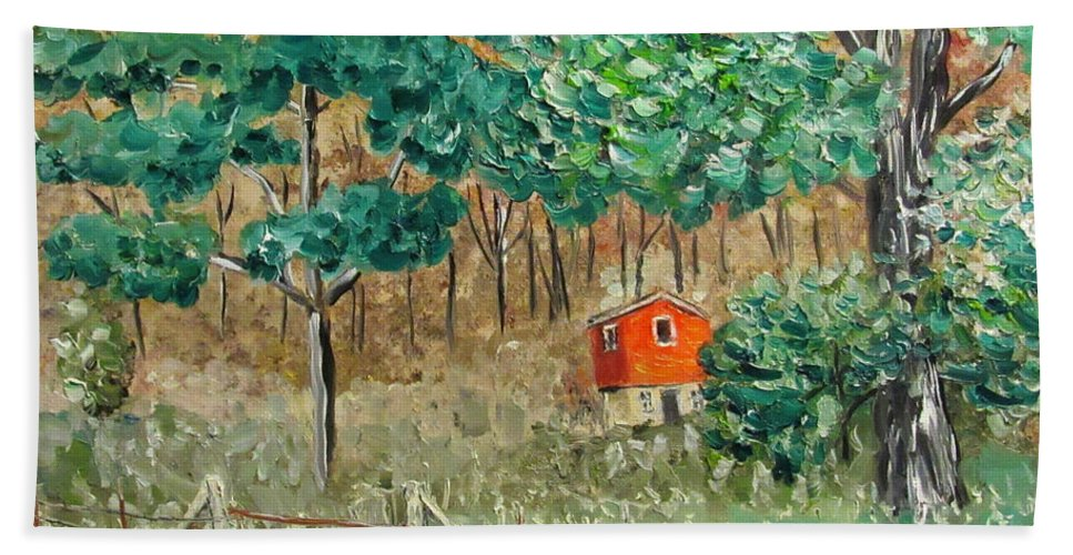Landscape Hand Towel featuring the painting On Big Laurel In Autumn No.2 by Danny Lowe