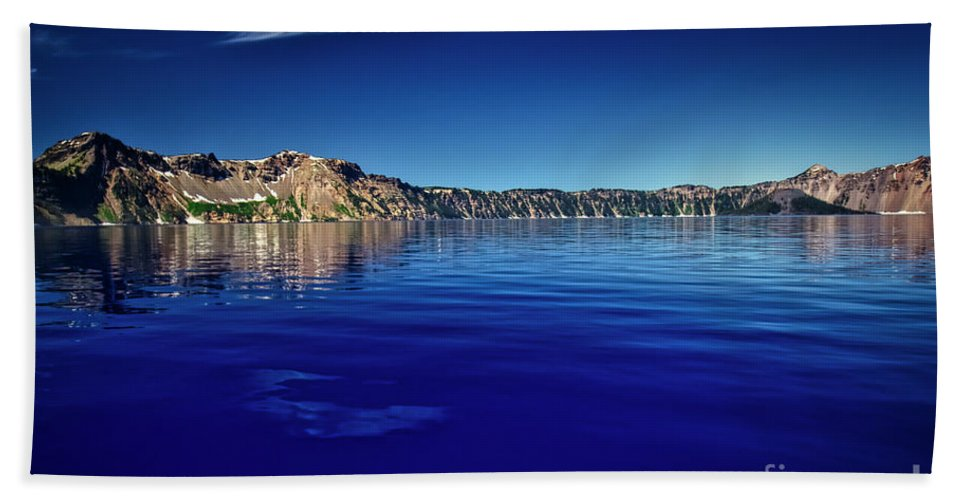 Crater Lake Hand Towel featuring the photograph On Crater Lake by Bruce Block