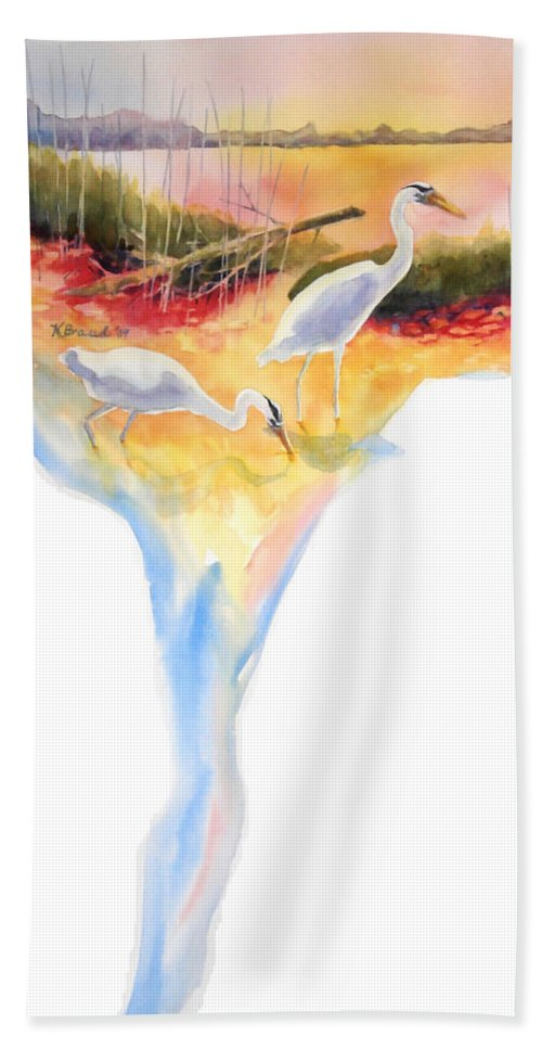 Paintings Hand Towel featuring the painting On Fire by Kathy Braud