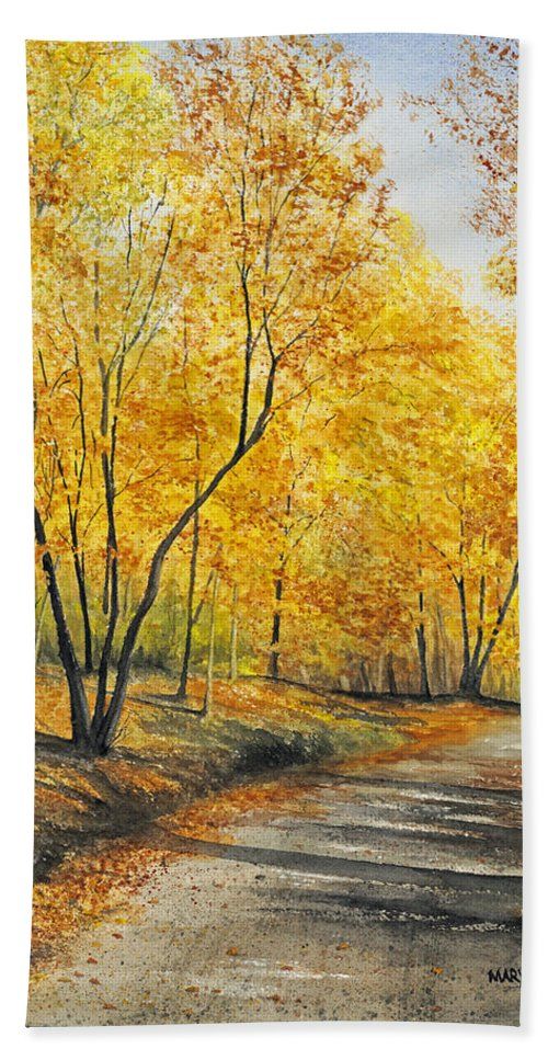 Autumn Hand Towel featuring the painting On Golden Road by Mary Tuomi