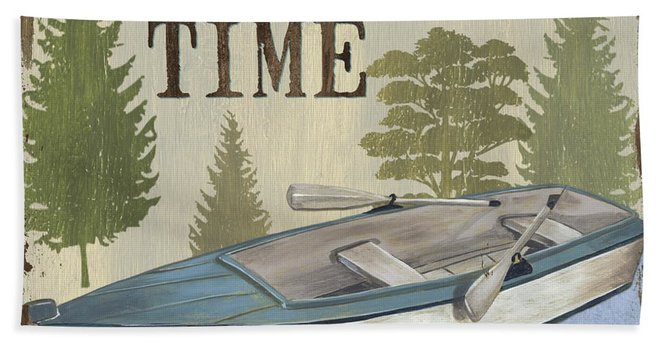 Lake Bath Towel featuring the painting On Lake Time by Debbie DeWitt