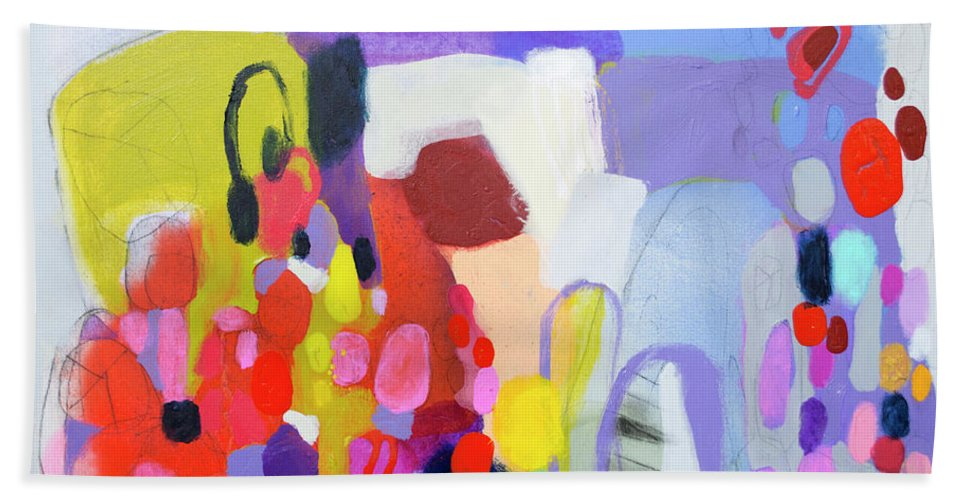 Abstract Hand Towel featuring the painting On My Mind by Claire Desjardins