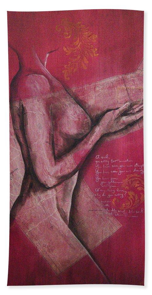 Figure Bath Towel featuring the painting On My Sleeve by Rowena Finn