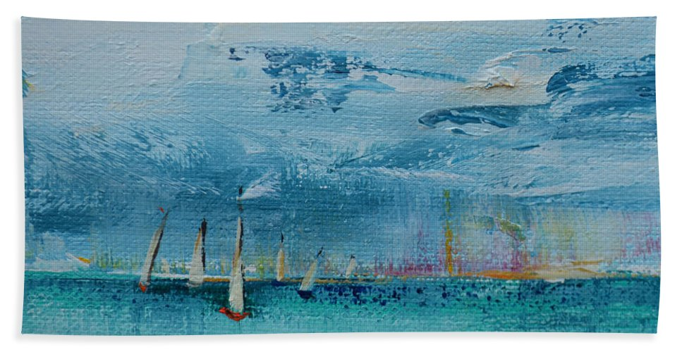 Sailboat Hand Towel featuring the painting On the Bay by Patricia Caldwell